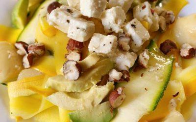 Recette Salade fraîcheur, Courgettes, pêches et fêta